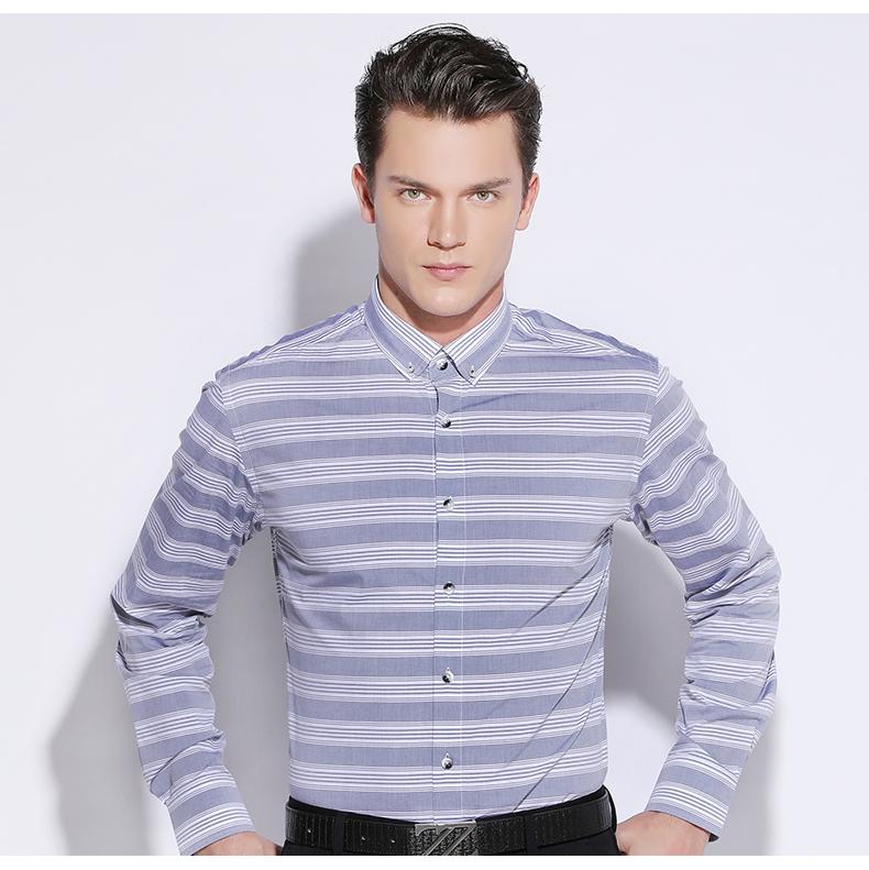 530f9b9e88 Compre Listras Horizontais Dos Homens Azul Celeste   Branco Camisa ...