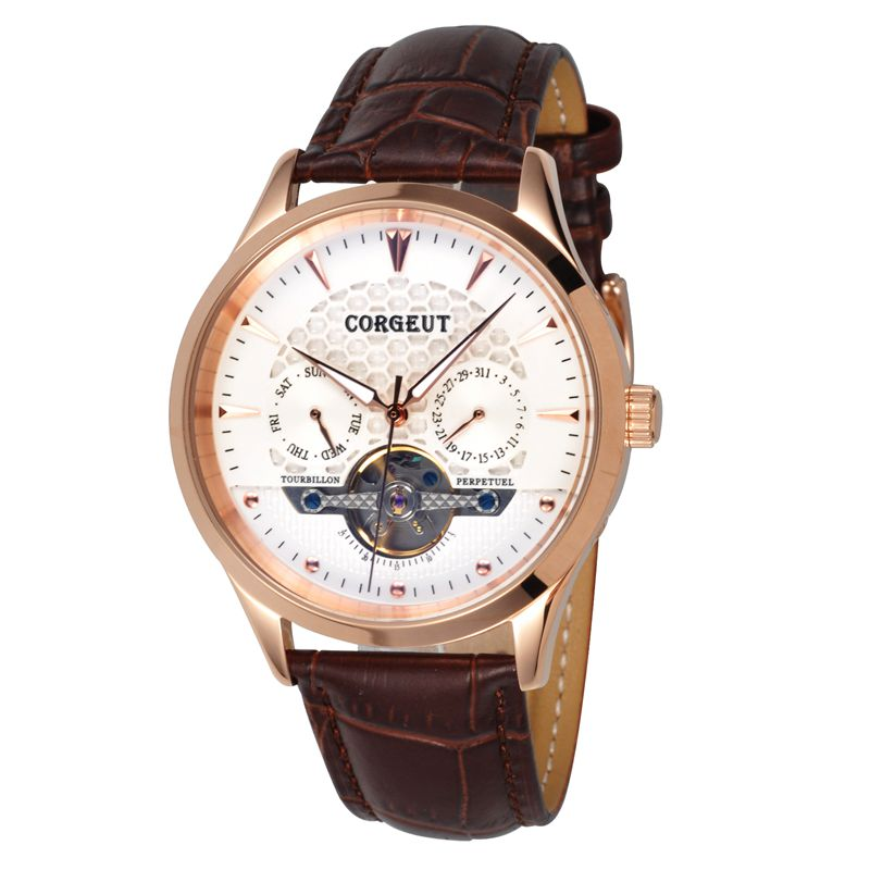 Corgeut 44mm Domed Glass Rosegold Case White Dial gold marks date&day coffee leather water resistant Mens Automatic WristWatches corgeut 44mm wristwatches rose gold case white dial coffee leather strap hand winding 6498 water resistant men watches cm2005b
