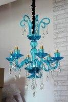 Прихожая сине зеленая стеклянная люстры 6 рука домой светодиодные фонари и освещение Столовой Висит Люстры Cafe лампе свет