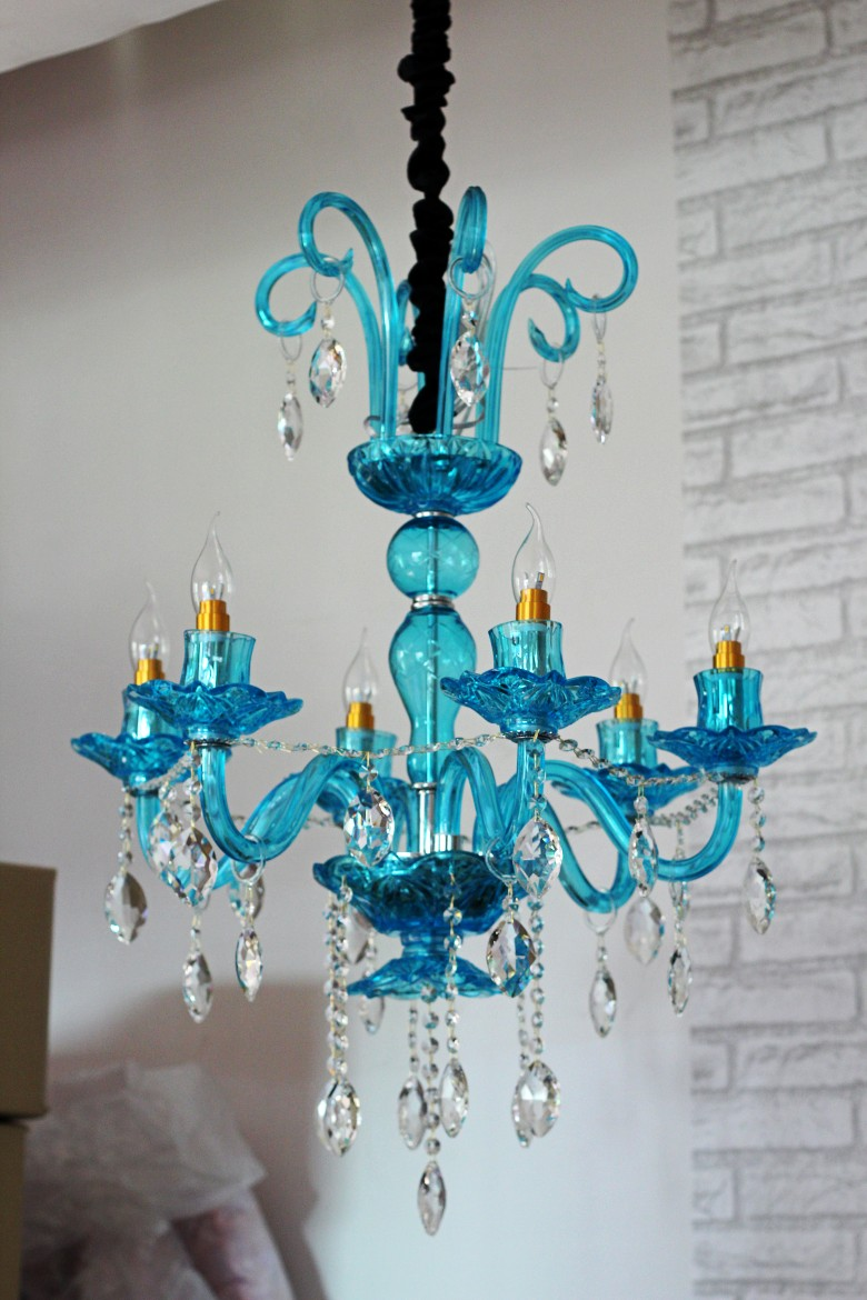 vestibule Blue green glass Chandelier lighting 6 arm home ...