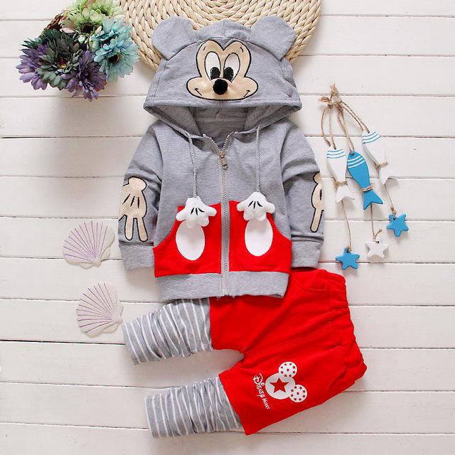 2016 spring & roupas de outono das crianças se adapte Mickey Mouse hoodies + calças 2 pcs terno crianças esportes meninos roupas definir 16colors