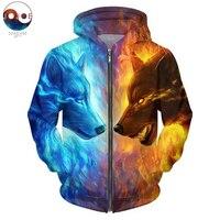 Ice and Fire by JojoesArt 3D Wolf Zipper Hoodies unisexe Zip Up Sweatshirts hommes Hoodies à capuche marque Cardigan décontracté livraison directe
