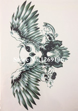 Owl And Skull 21 X 15 CM Sized Sexy Cool Beauty Tattoo Waterproof Hot Temporary Tattoo Stickers#24