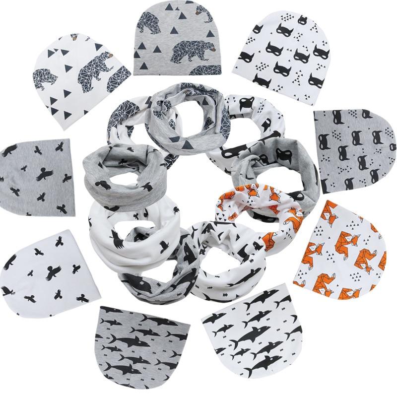 1 Set Baby Hat Scarf Cotton Kids Hat Autumn Winter Children Scarf-collar Boys Warm Beanies Cartoon Print Infant Hats New Scarves