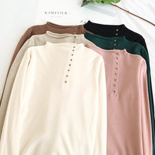Embellike Women Mock Neck Sweater Button Basic Knitted Tops Brief Jumper
