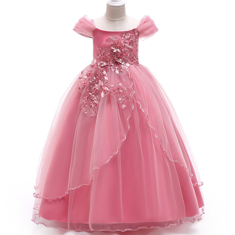 Beading dress ladies dress flower girl dresses for wedding girls dress first communion princess party baby tutu costume LP-213