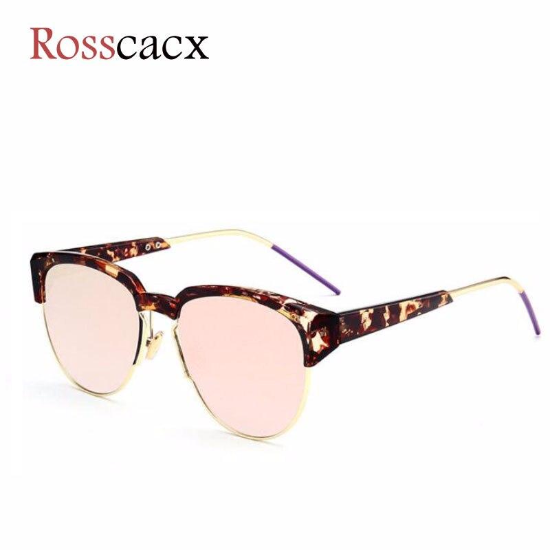 Rosscacx Luxury Designer Cat Eye Sunglasses Half Frame Shades For Women Brand Oversized Trendy Retro Metal Frame Eyewear