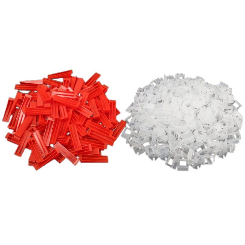 THGS 300Pcs Plastic Ceramic Tile Leveling System 200 Clips+100 Wedges Tiling Flooring Tools Wedges Clips