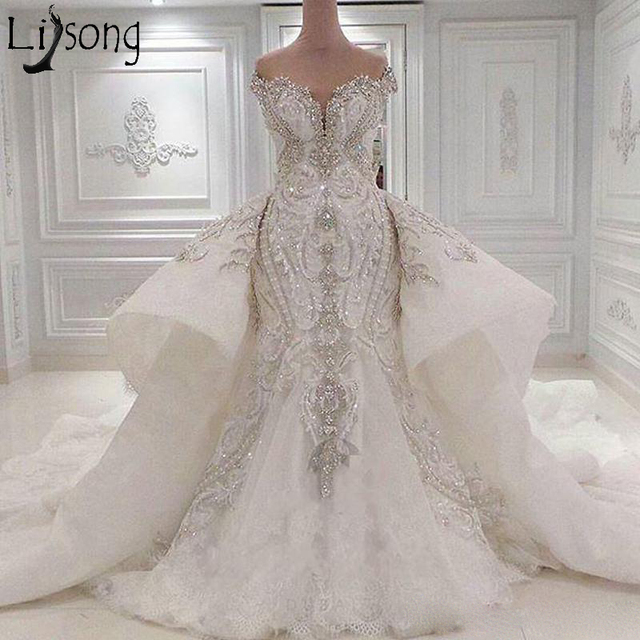 cd579a9d793 Luxury Dubai Wedding Dress Plus Size Mermaid Wedding Gowns Bling Crystals  Beaded Embroidery Bridal Dresses with Detachable Train