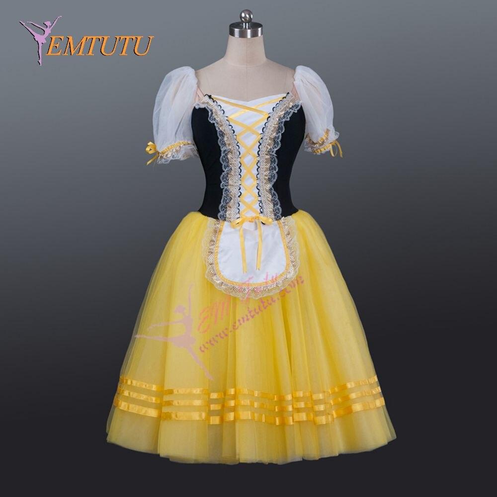 63907317a € 150.83 7% de DESCUENTO Mujeres clásico romántico Ballet Tutus amarillo  negro bailarina adulto Ballet largo tutú vestido Nutcracker profesional ...