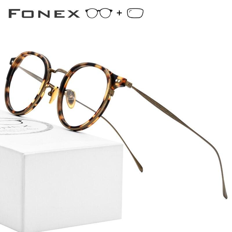 B Titanium Optical Prescription Glasses Frame Men Vintage Round Eyeglasses Women Retro Myopia Acetate Spectacles Eyewear