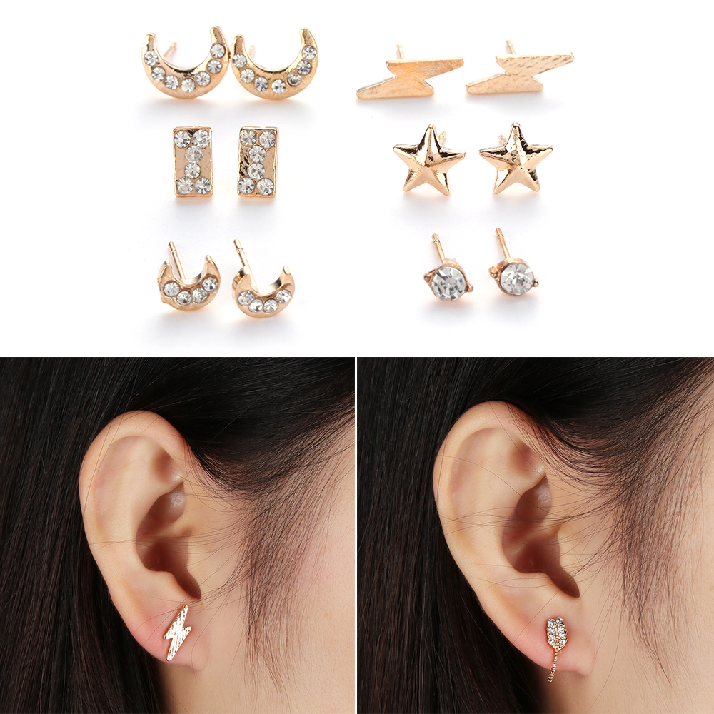 Hot 2Style 6/7 Pair=1 SET Star/Moon Crystal Rhinestone Statement Stud Earrings Set For Women Silver Gold Earrings Jewelry Gifts