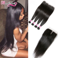 Straight Peruvian Virgin Hair With Closure Natural Black Peruvian Straight Hair With Closure 4 Bundles Human Hair With Closure