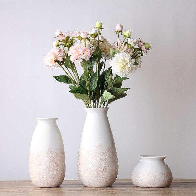 1pc Pinky White Ceramic Vase Simple European Style Flower Vases Decorative Vase for Home Table Decoration