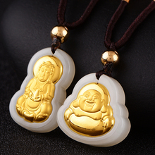 Hetian jade pendant feet male and female lovers of Guanyin Buddha Necklace