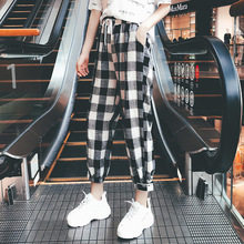 Hot 2019 New Fashion Women Casual Pants Clothes Print Plaid Female Straight Loose Autumn Clothing
