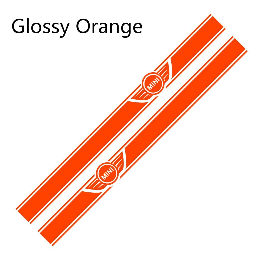 2 шт. автомобиль длинные штаны с полосками, Стикеры для Mini Cooper R56 R57 R58 R50 R52 R53 R59 R61 Countryman R60 F60 F55 F56 F54 аксессуары «сделай сам» - Color Name: Glossy Orange