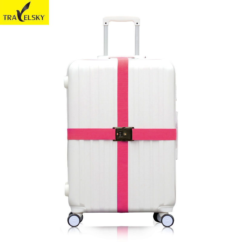 Cross straps with TSA three layer password lock Strong Nylon available size 20 to 34 inches suitcase Travelsky 13016T