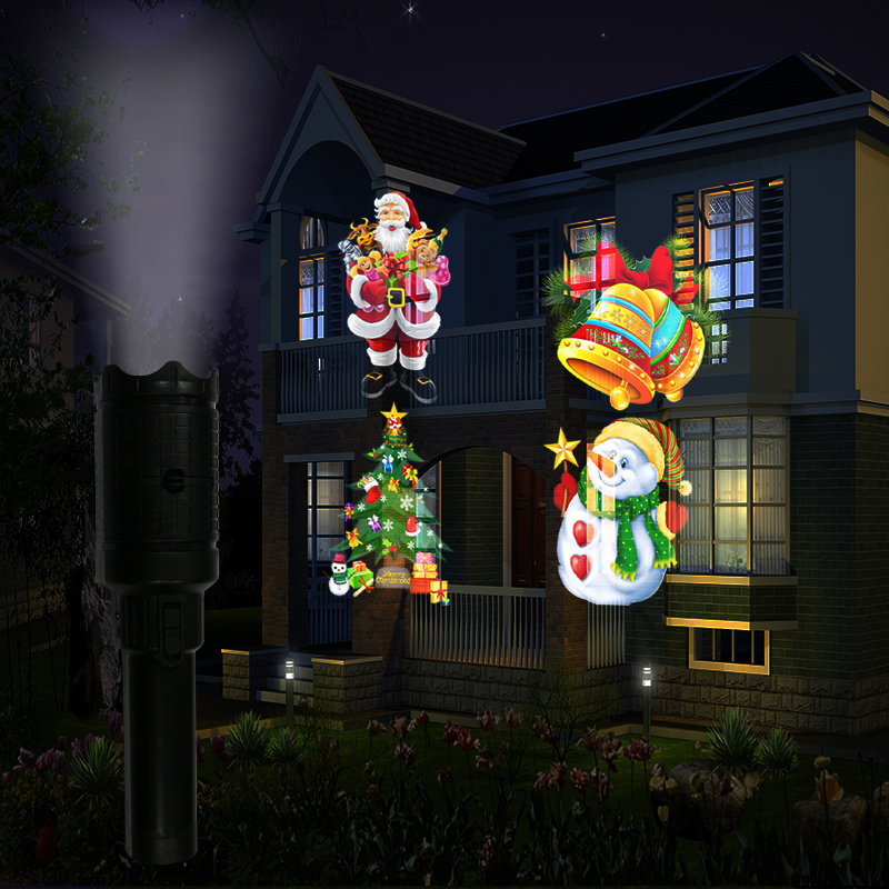 Laser Projector Christmas Lamps Rechargeable Flashlight With Card Lamp LED Stage Outdoor Decoration Lights