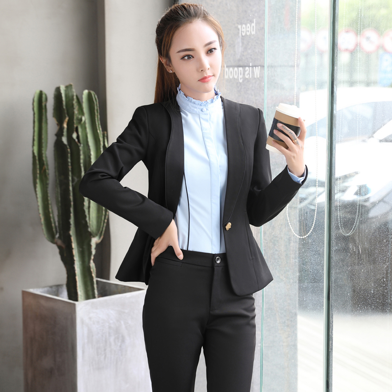 Ladies Pant Suits For Women Autumn Fashion Slim Business Office 2 Pieces Trouser Suit 1