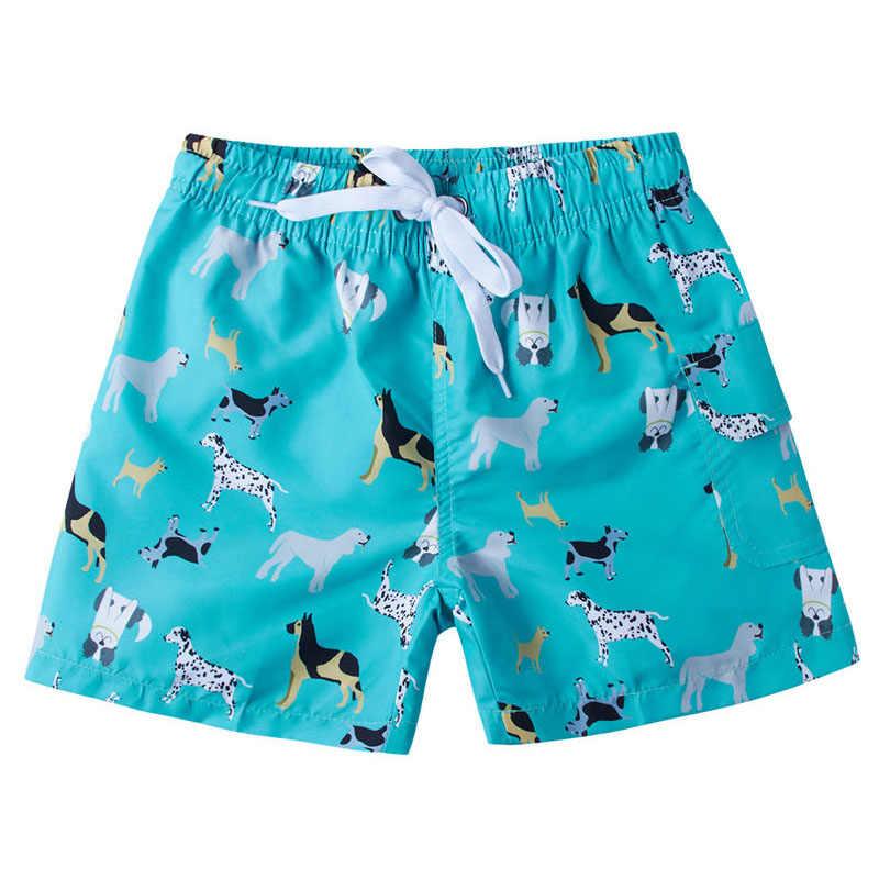 d5e230ffd6 Kids Boys Swimming Beach Shorts Cartoon Dog Shark Fish Print Elastic Waist  Short Trunk 4 6