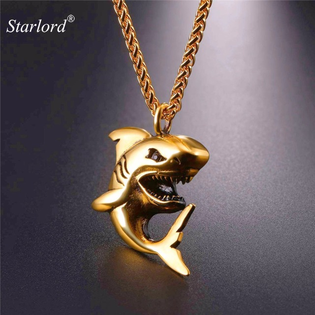 Starlord shark shape pendant necklace goldblack colorstainless starlord shark shape pendant necklace goldblack colorstainless steel punk jewelry shark necklace aloadofball Gallery