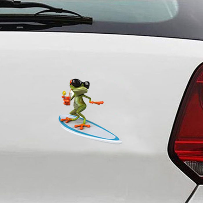 Car stickers 3d surfing funny animal pattern car body truck window decal graphics sticker 2613 in car stickers from automobiles motorcycles on