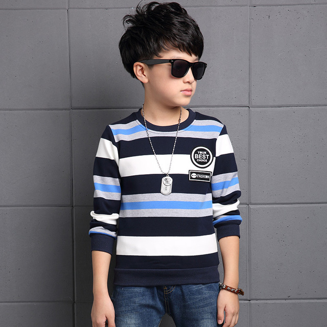 Boys cotton long-sleeved striped T-shirt 2016 spring & autumn baby boy fashion clothing big virgin shirt 7/8/9/10/11/12/13 years