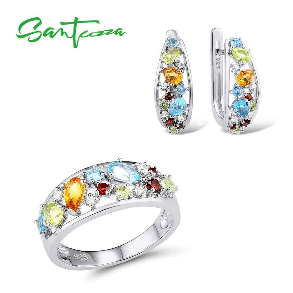 ชุดเครื่องประดับเงินชุดผู้หญิง Mutil สีหินสีขาว CZ ต่างหูแหวน 925 เงินสเตอร์ลิงแฟชั่นเครื่องประดับชุด