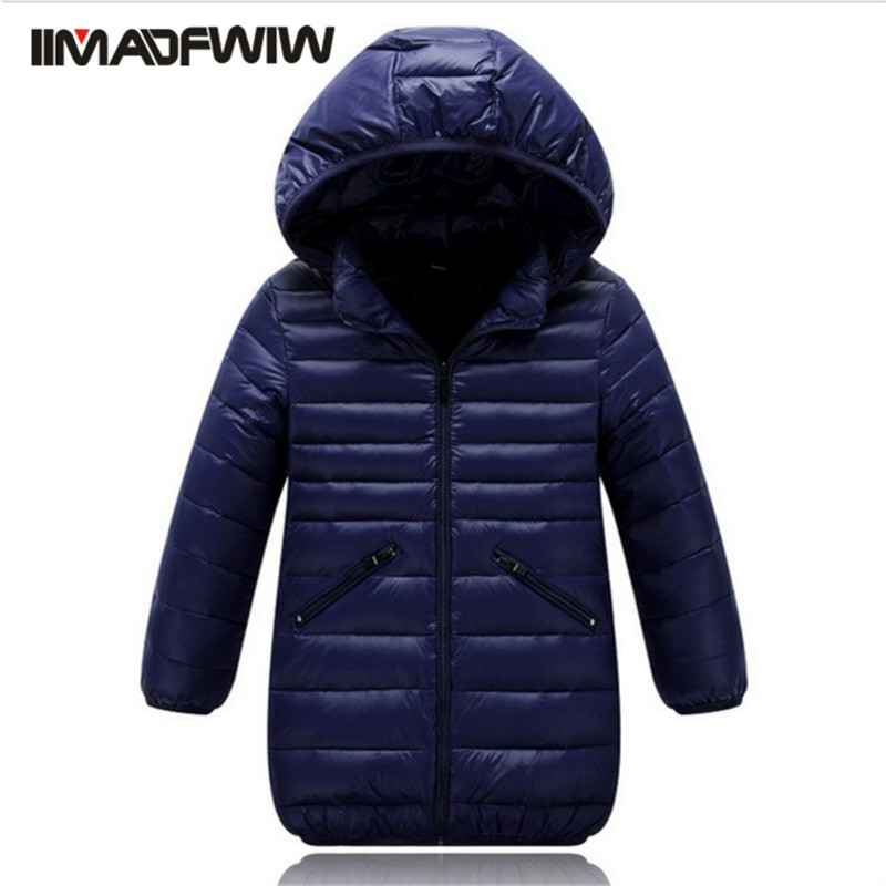 2016 New Boys Down Jackets Light Outerwear Coats Fashion Warm Hooded Solid Long Outer Clothing For