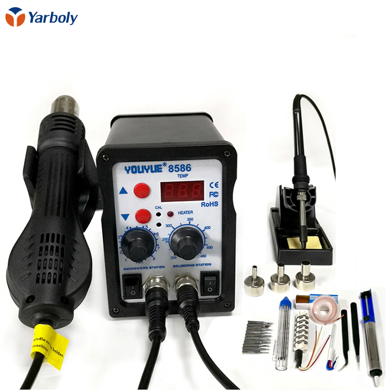 8586 110V/220V 700W 2 in 1 SMD Rework Soldering Station Hot Air Gun+Electric iron Solder Iron With For Welding Repair Free Gifts 2pcs 6000k car head light replacement xenon hid kit 880 car headlight 35w bulb lamp truck