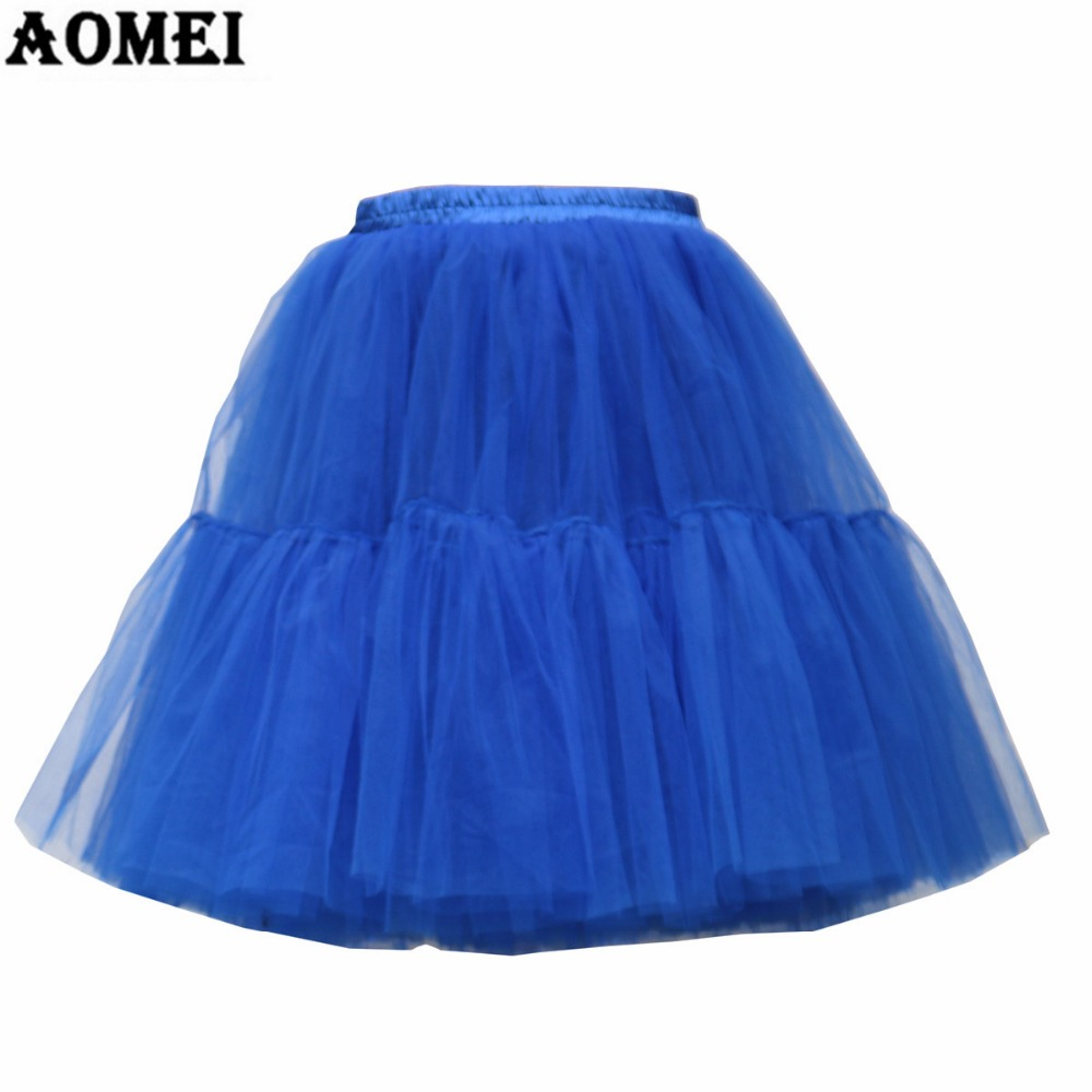 2018 Spring Tulle Skirts 5 Layers Knee Length for Women Summer Pleated Party Vintage Tutu Skirt ...