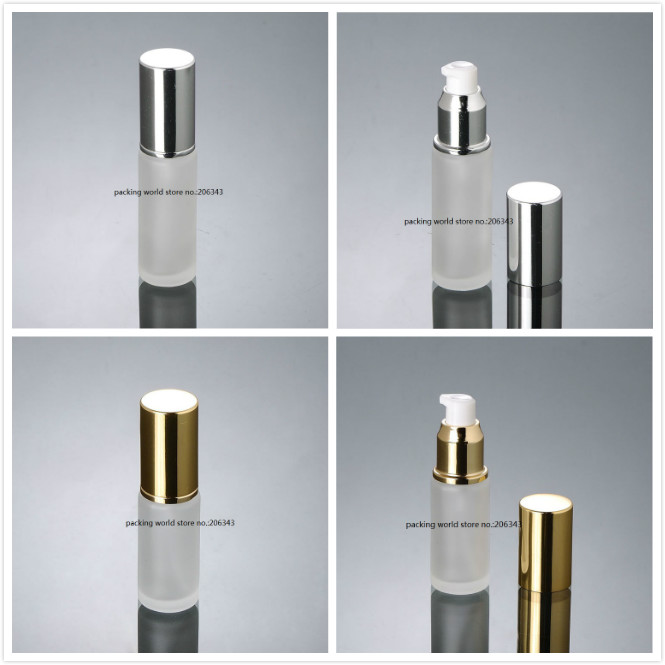 30ml frosted glass bottle with shiny silver gold pump lid for lotion emulsion serum foundation toner