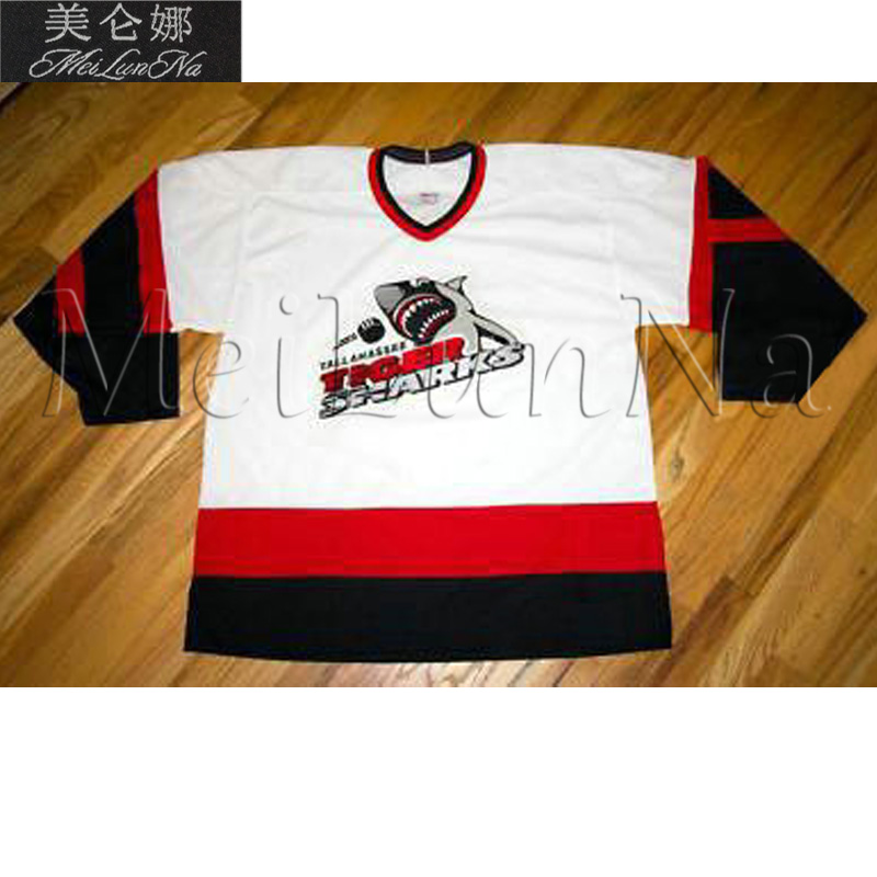 MeiLunNa Custom ECHL Tallahassee Tiger Sharks Hockey Jerseys Home Road White Black Sewn On Any Name NO.Size meilunna custom echl manchester monarchs hockey jerseys 6 david kolomatis 24 michael doherty home road sewn on any name no size