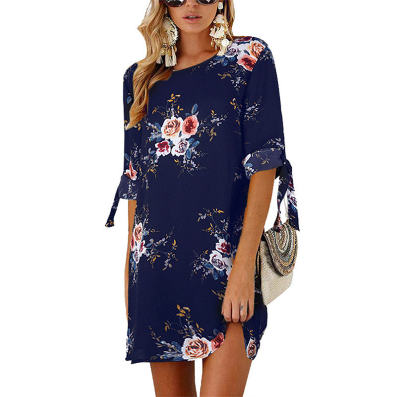 Women Summer Dress Boho Style Floral Print Chiffon Beach Dress