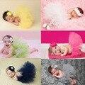 Adorável roupas adereços fotografia adereços Recém-nascidos tutu bebê menina Headband Da Flor do bebê meninas Infantil roupa material Do Bebê para recém-nascidos