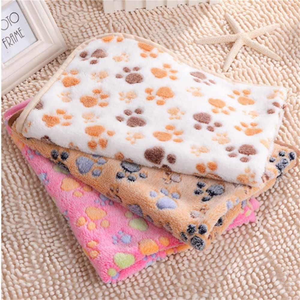 Одеяло для домашних животных зимний коврик для кошки с принтом ног теплый спальный матрас Маленькие Средние собаки кошки коралловый флисовый, для питомца