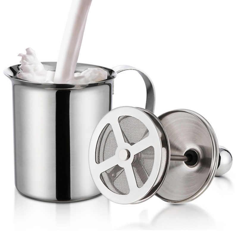 Podwójna siatka spieniacz do mleka spieniacz do mleka ze stali nierdzewnej ręczna pompa do Cappuccino 400cc/800cc XHC88