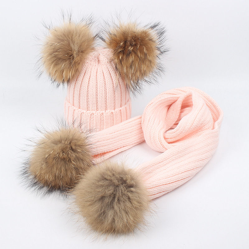 Boys Girls Winter Crochet Cap Skullies Real Fur Pompom Hat Set For Kids Thick Knitted Beanie Children Warm Hat And Scarf Set