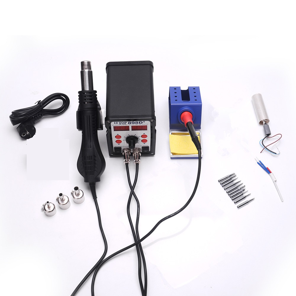 ISTOP 898D+ Dual digital display 600W SMD Soldering Stations Rework Station Iron With 10pcs tips+ Hot Air Gun With Heating core