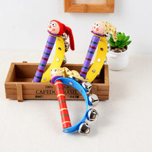 2018 New Arrival Wooden Shaking Handbell Rattle Sound Toy Musical Instrument Gift for Baby Kid Child Toys For Fun(China)