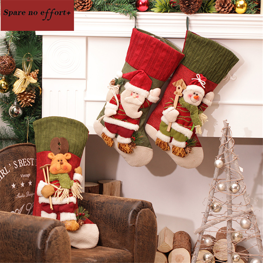Large ornaments - Large Creative Christmas Stocking Chrismas Decorations For Home Christmas Tree Ornaments Gift Holders Stockings