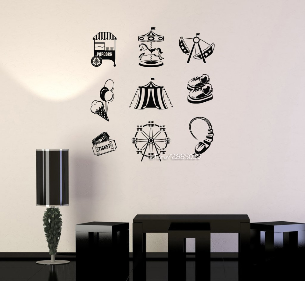 Circus Entertainment Amusement Parks Wall Stickers Decor Kids Baby Room Wall  Decal High Quality Wallpaper Mural
