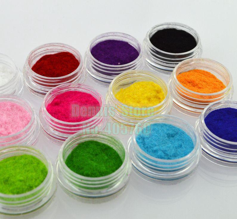 Beauty 3D 12 Colors Fluffy Velvet Powder Nail Art Decoration DIY Beauty Salon Kits IDH3 3d 12 candy colors glass fragments shape nail art sequins decals diy beauty salon tip free shipping