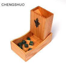 Chengshuo dnd dice tower wooden fold 17cm Oak Storage dice Magnet adsorption rpg dice tray for dungeons and dragons table games(China)