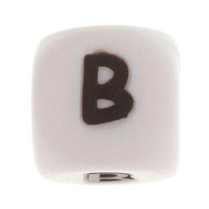 Image 4 - 100 pçs inglês alfabeto letra 12mm silicone cubo mordedor grânulos bpa livre grau alimentício bebê dentição jóias ensino brinquedo de enfermagem