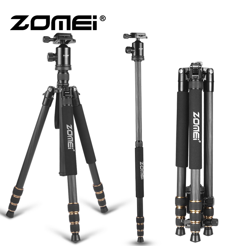 ZOMEI Carbon Fiber Professional Tripod Lightweight Mountaineering Travel Monopod Professional Photographic Camera Dedicate Stand