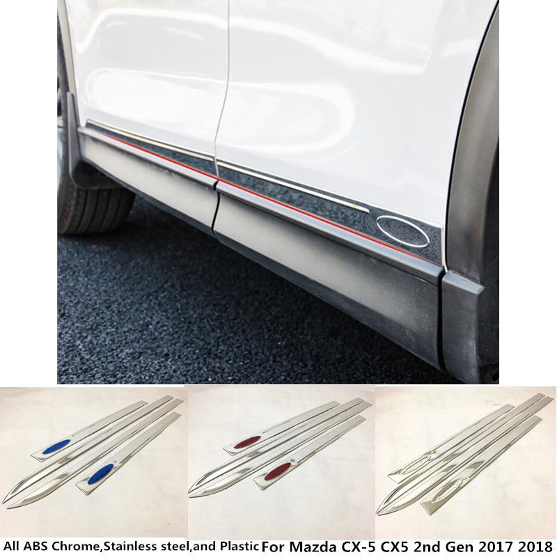 High quality Car Side Door trim Strip Molding Stream lamp panel bumper hood moulding 4pcs For Mazda CX-5 CX5 2nd Gen 2017 2018