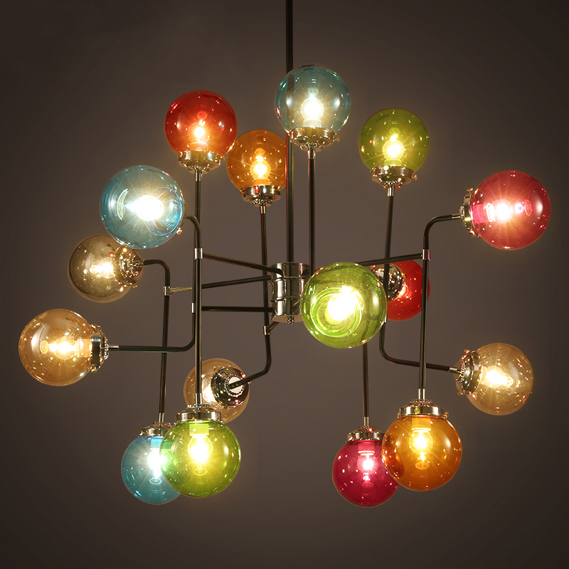 Nordic restaurant Pendant Lights iron Beanstalk American country retro Cafe bar clothing stained colorful glass lamp LU80117 modern nordic pendant lights american country black white lustre pendant lamp cafe restaurant suspension luminaires hanging lamp