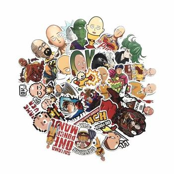 TD ZW 50 Pcs/lot Japanese Anime ONE PUNCH-MAN Stickers For Car Laptop Phone Skateboard Motorcycle Bicycle Cartoon Sticker